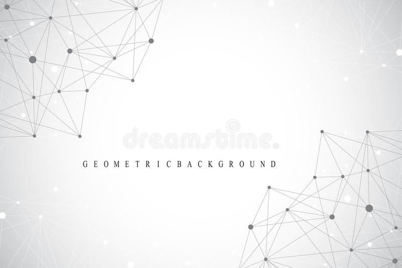 Geometric graphic background molecule and communication. Big data complex with compounds. Perspective backdrop. Minimal. Array. Digital data visualization stock illustration