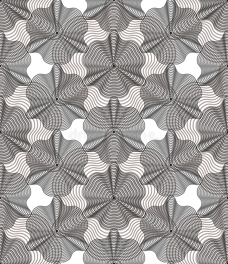 Geometric gray stripy overlay seamless pattern, bright vector ab. Stract background. Graphic symmetric ornament royalty free illustration