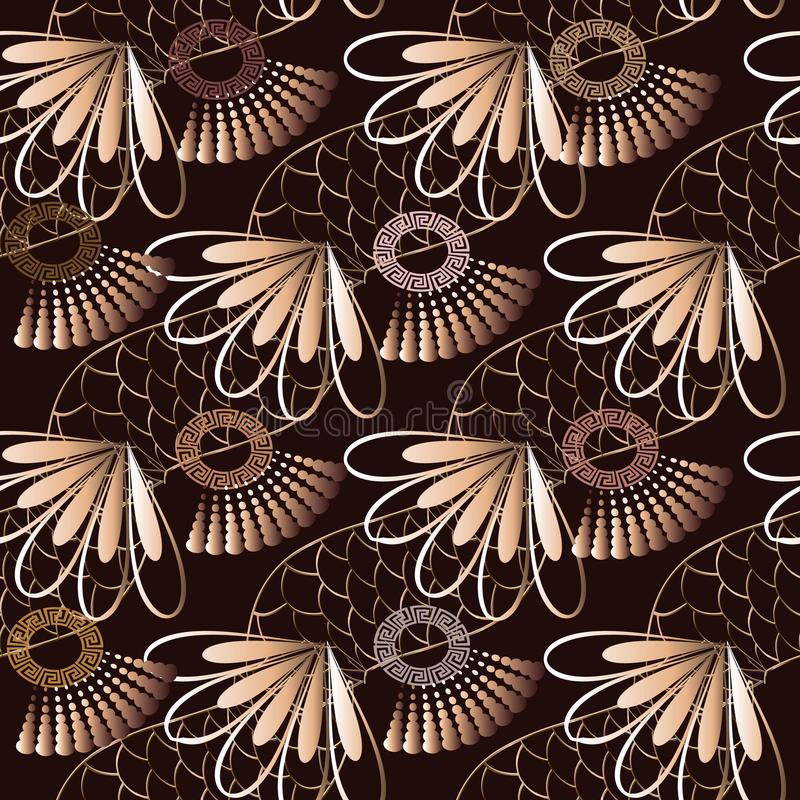 Geometric greek vector seamless pattern. Abstract floral background with gold snake skin, 3d flowers, halftones, circles, greek k royalty free illustration