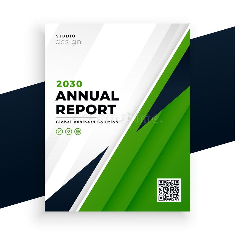 Geometric green abstract annual report flyer business template vector illustration