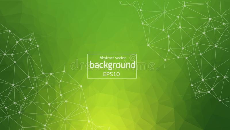 Geometric Green Polygonal background molecule and communication. Connected lines with dots. Minimalism background. Concept of the. Science, chemistry, biology stock illustration