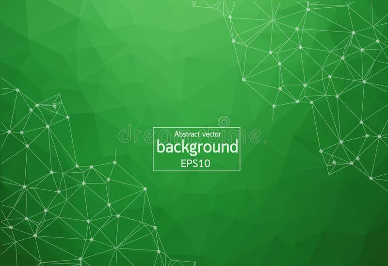 Geometric Green Polygonal background molecule and communication. Connected lines with dots. Minimalism background. Concept of the royalty free illustration