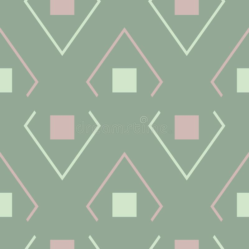 Geometric green seamless background with pink elements stock illustration