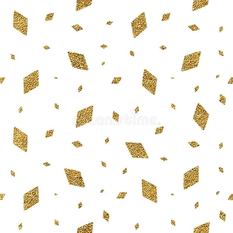 Geometric grunge gold seamless pattern of rhomb confetti stock illustration