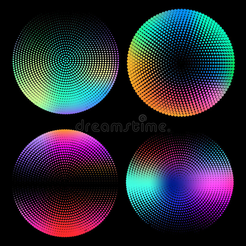 Geometric halftone circle set with holographic gradients. Minimal design backgrounds. Holographic shapes. Vector royalty free illustration