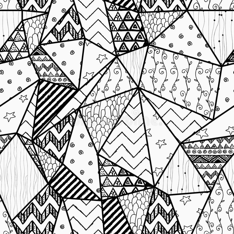 Geometric Hand-drawn Abstract Seamless Background Stock ...