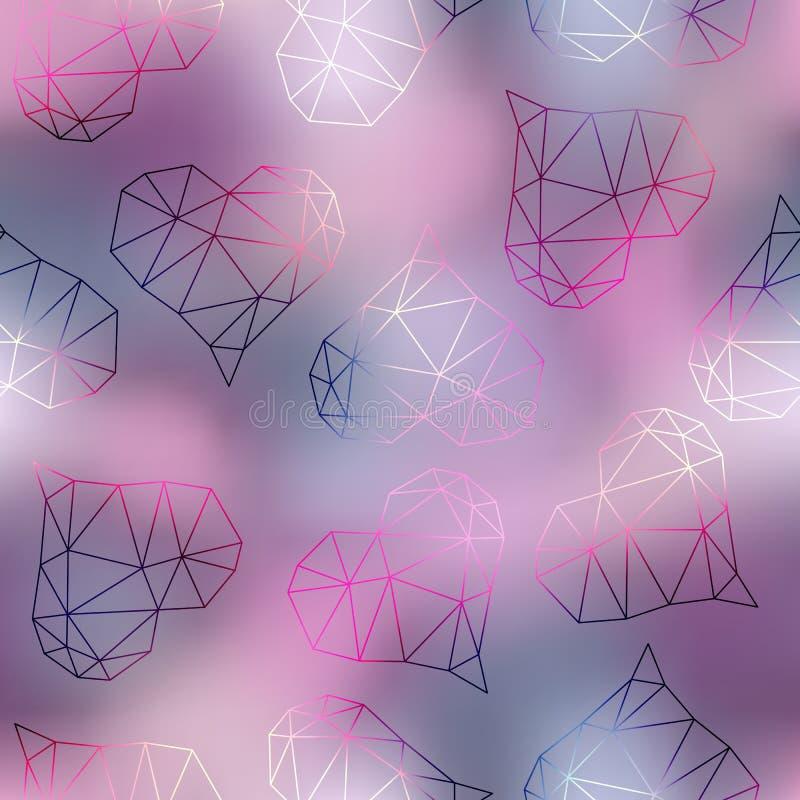 Geometric hearts on blur pink background. royalty free illustration