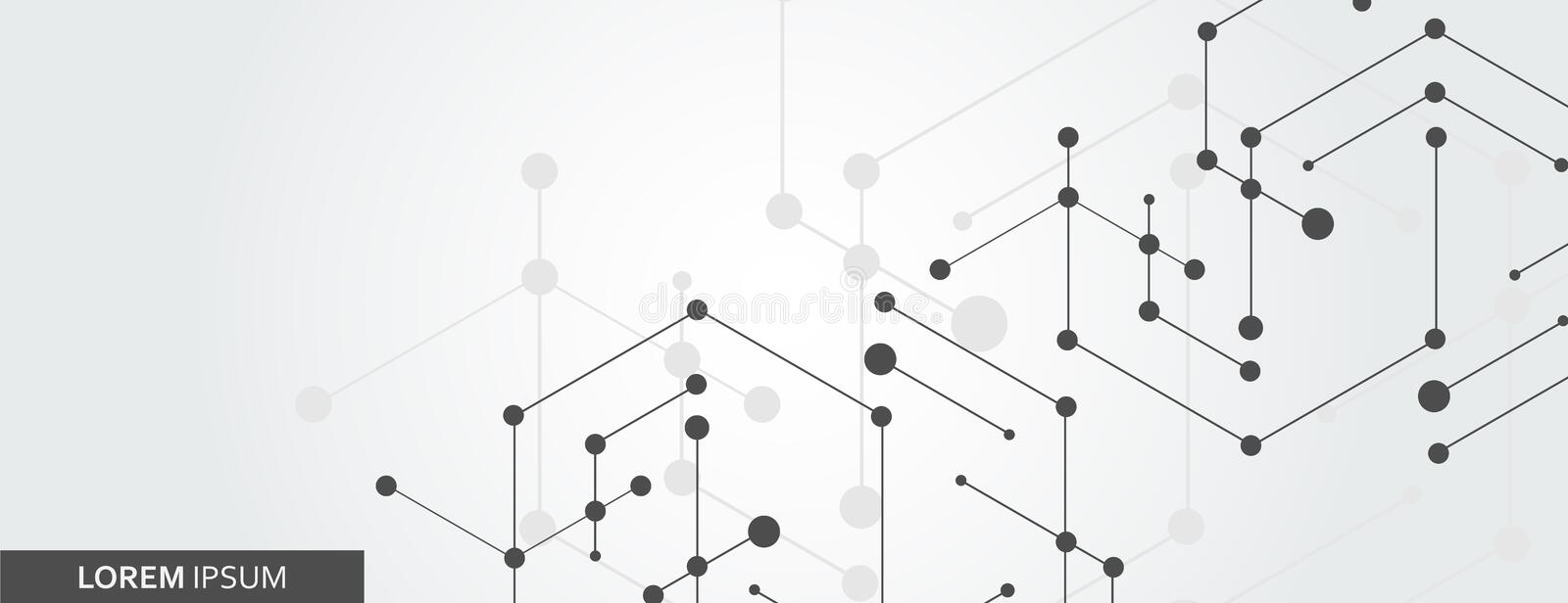 Geometric hexagon connect with connected line and dots. Simple technology graphic background. Vector banner design royalty free illustration