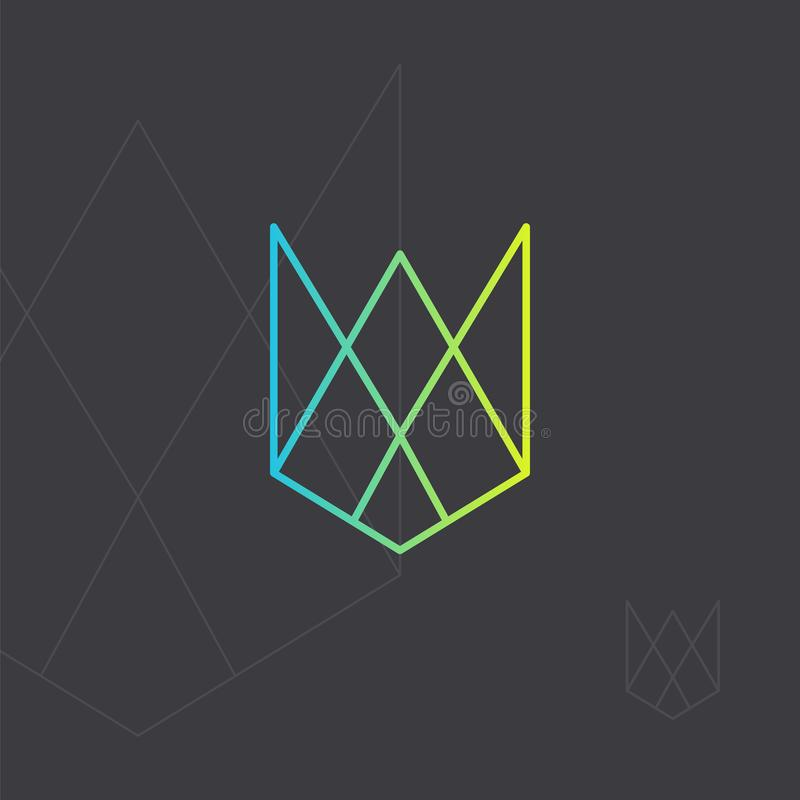 Geometric hipster logo. Hipster icon, geometric logo. Minimal design. Outline. Wireframe mesh element with triangle shapes. Abstract form. Contour design element royalty free illustration