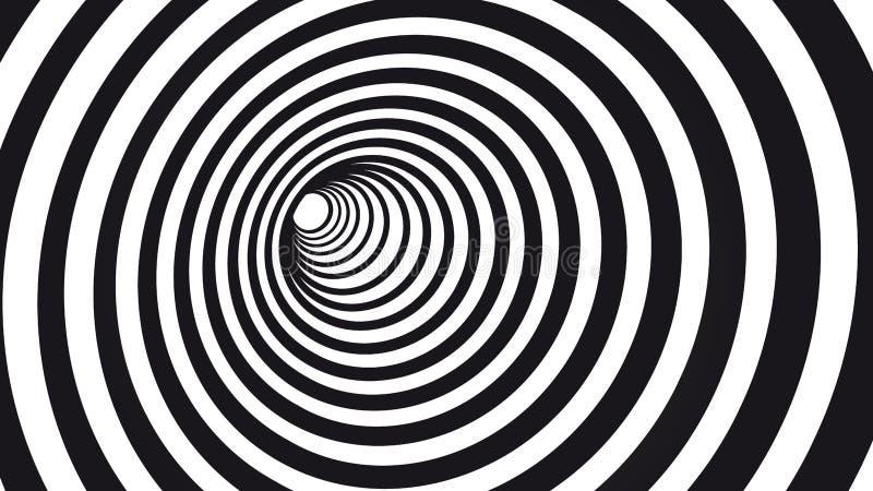 Geometric hypnotic spiral. Black and white striped optical illusion illustration. Geometrical wormhole shape pattern. Vector illustration flat design of stock illustration