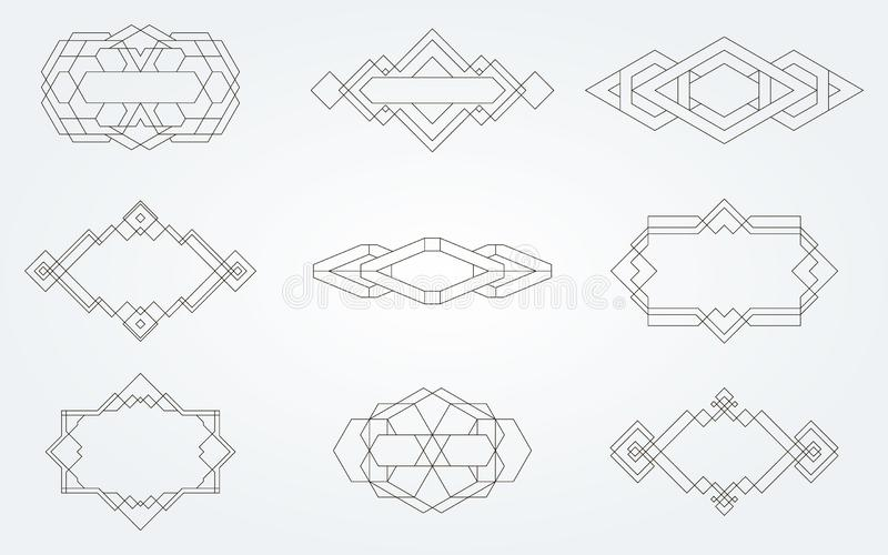Geometric icons, signs, labels stock image