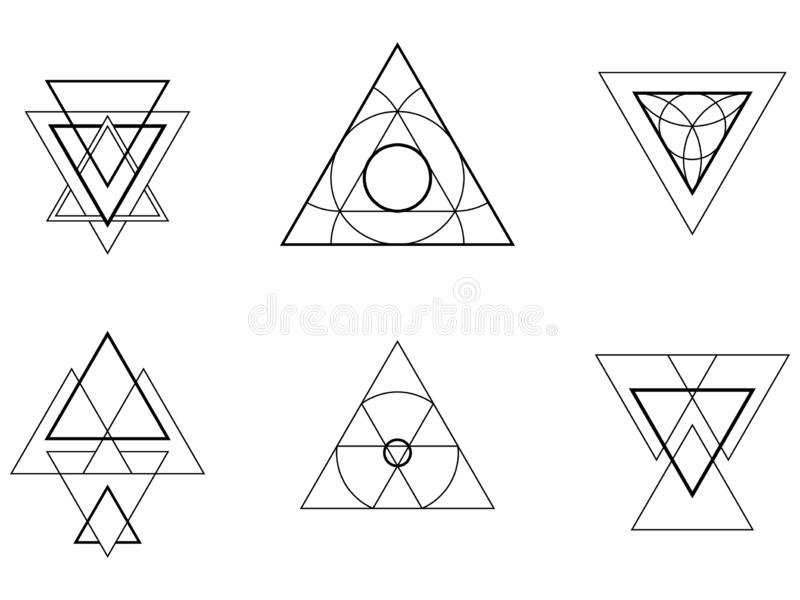 Geometric icons, signs, labels stock photography