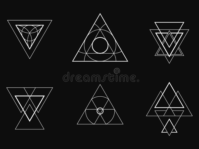 Geometric icons, signs, labels stock images