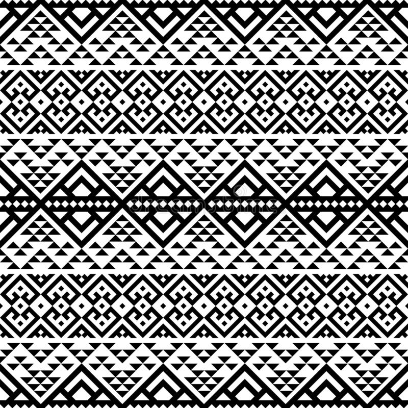 Geometric Ikat ethnic pattern vector black white color royalty free illustration