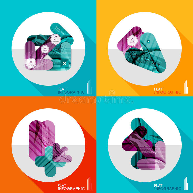 Geometric infographic set in trendy flat style. Modern geometric infographic set in trendy flat style. Business abstract layout collection royalty free illustration