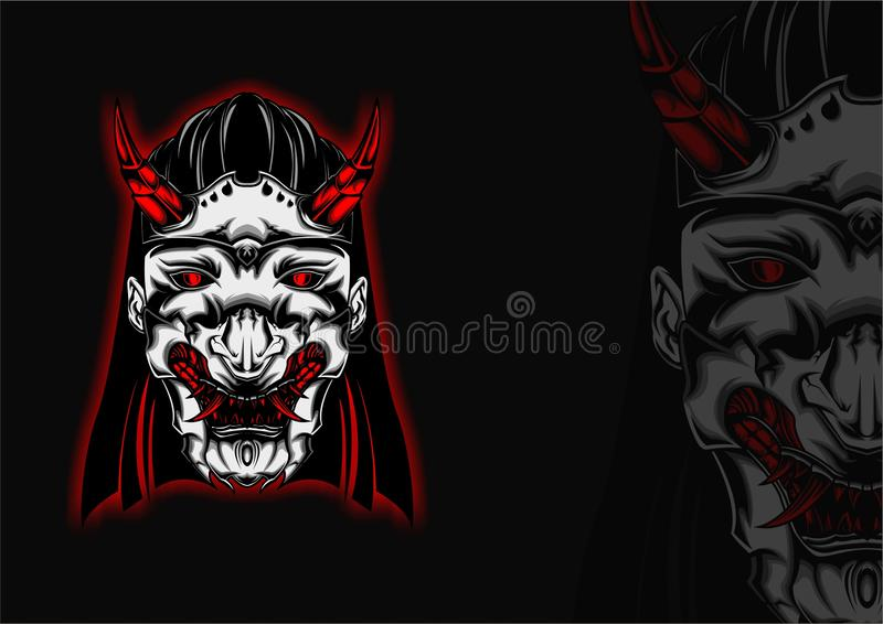 Geometric Japanese Devil Kunoichi Geisha royalty free stock image