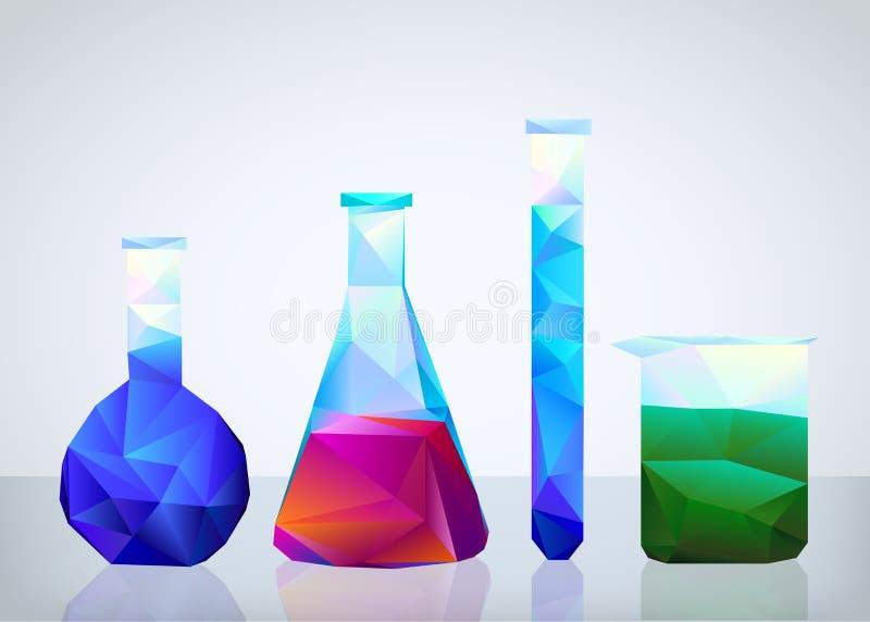 Geometric laboratory glassware in style origami royalty free illustration