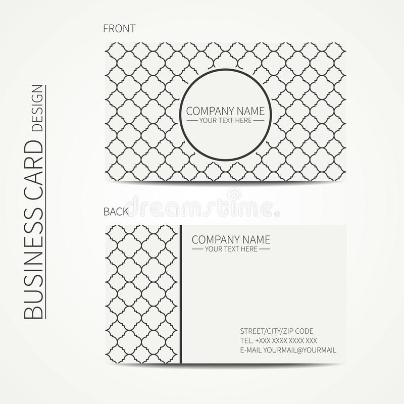 Geometric lattice monochrome business card. Template with stars for your design. Arabic pattern. Islamic oriental style. Moroccan business card. Calling card vector illustration