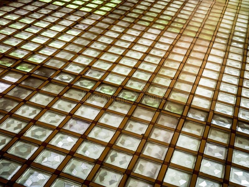 Geometric Lighted Flooring. Geometric lighted grid flooring, slanted view, in the Old City Hall, Richmond, Virginia stock photo