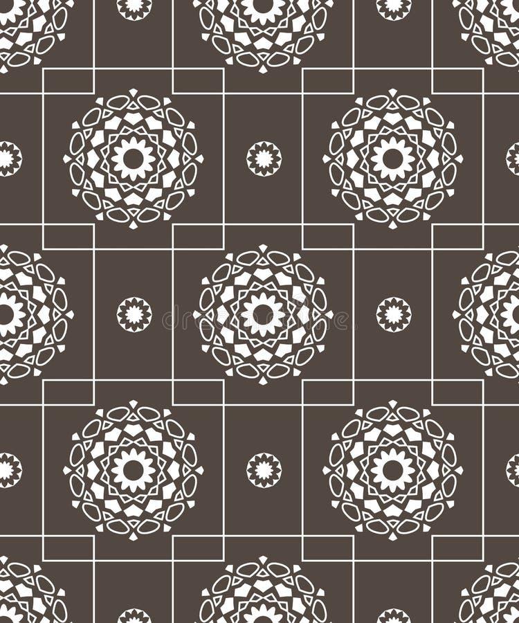 Geometric line flower background for fabric, wallpaper or web. Design seamless pattern vector illustration stock illustration