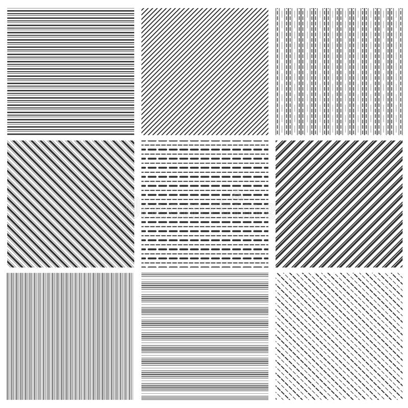 Geometric line pattern set. Parallel streep black diagonal lines patterns vector illustration vector illustration