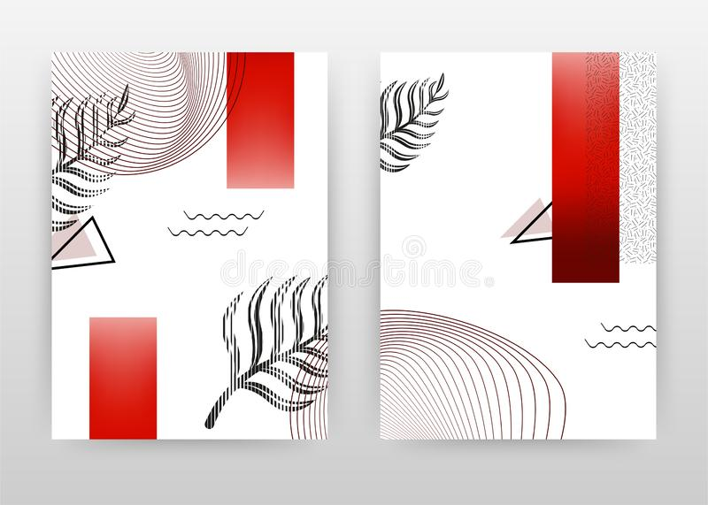 Geometric lined flower petal with red shape design for annual report, brochure, flyer, leaflet, poster. Geometric lined white. Background. Abstract A4 brochure vector illustration