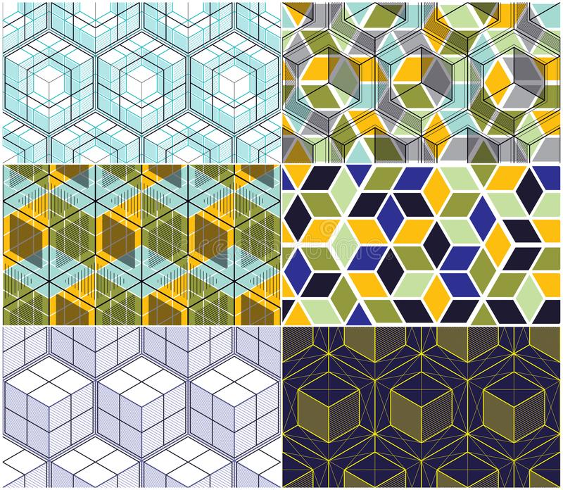Geometric lines abstract seamless patterns set, 3d vector backgrounds cubes collection. Technology style engineering line drawing royalty free illustration