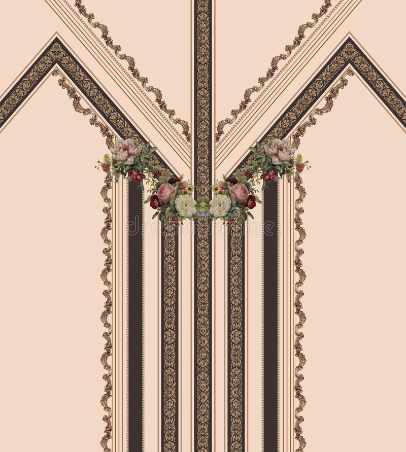 Geometric lines flowers brown baroque gold design stock illustration