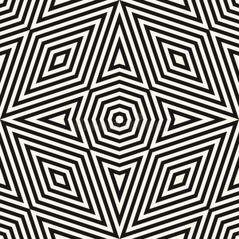 Modern abstract monochrome vector background. Black and white graphic texture with triangles, rhombuses, octagons, diagonal lines, royalty free illustration