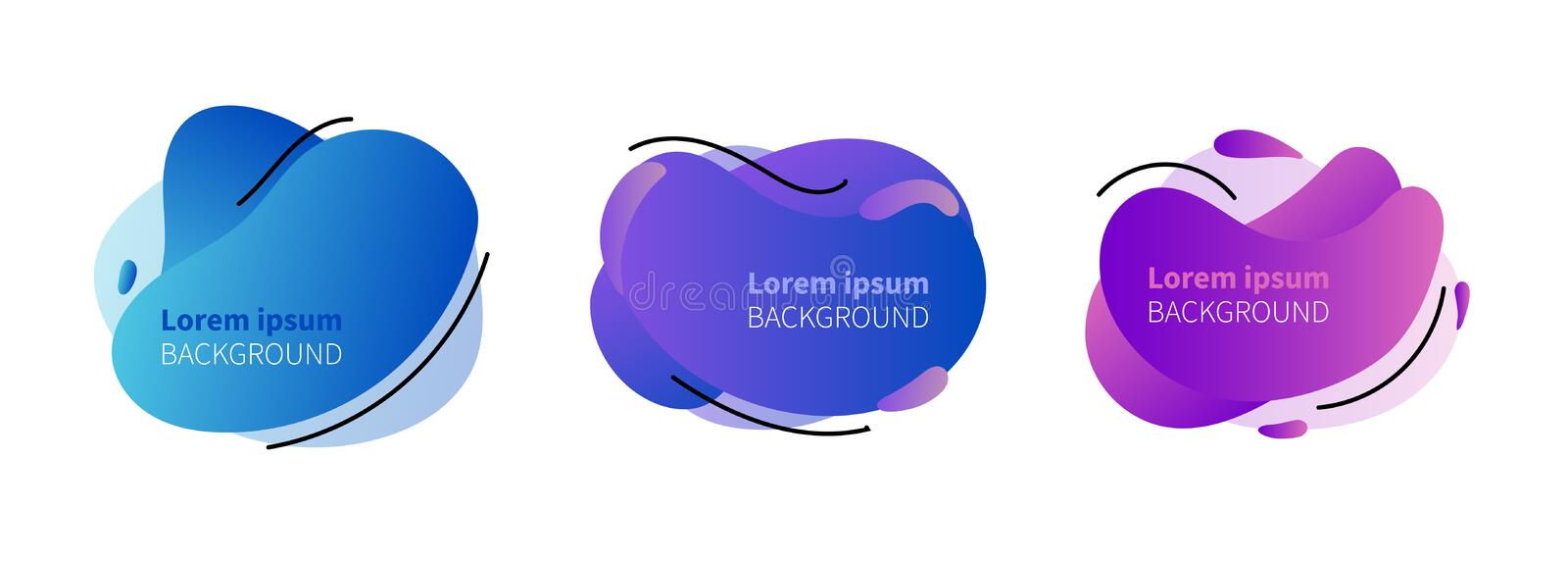 Geometric liquid colorful abstract shapes set. Modern design isolated white background. vector illustration