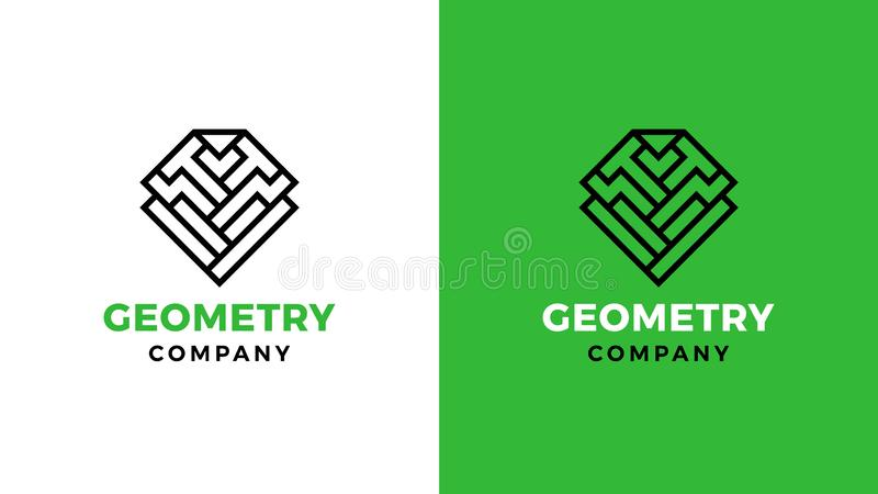 Geometric Logotype template, positive and negative variant, corporate identity for brands, mining product logo vector illustration