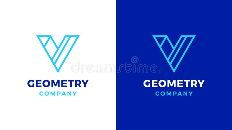 Geometric Logotype template, positive and negative variant, corporate identity for brands, V letter product logo stock illustration