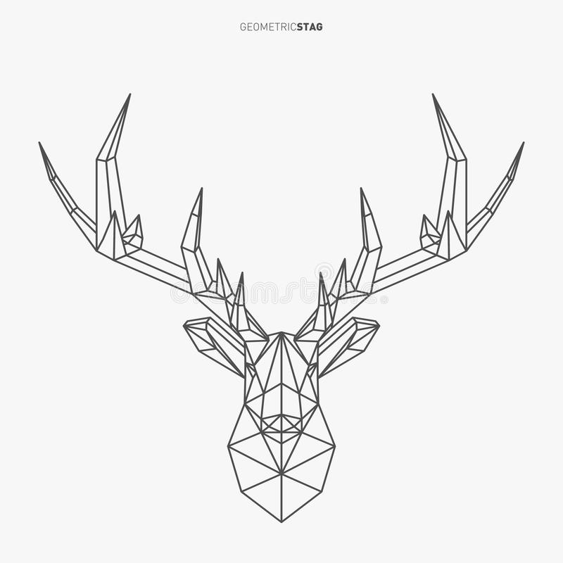 Geometric Low Poly Stag royalty free illustration