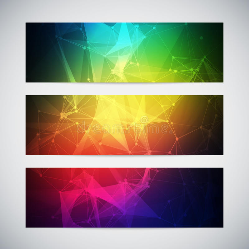 Geometric, lowpoly, abstract modern vector banners. Set with polygonal background. Molecule And Communication Background. Connection structure. Vector science stock illustration