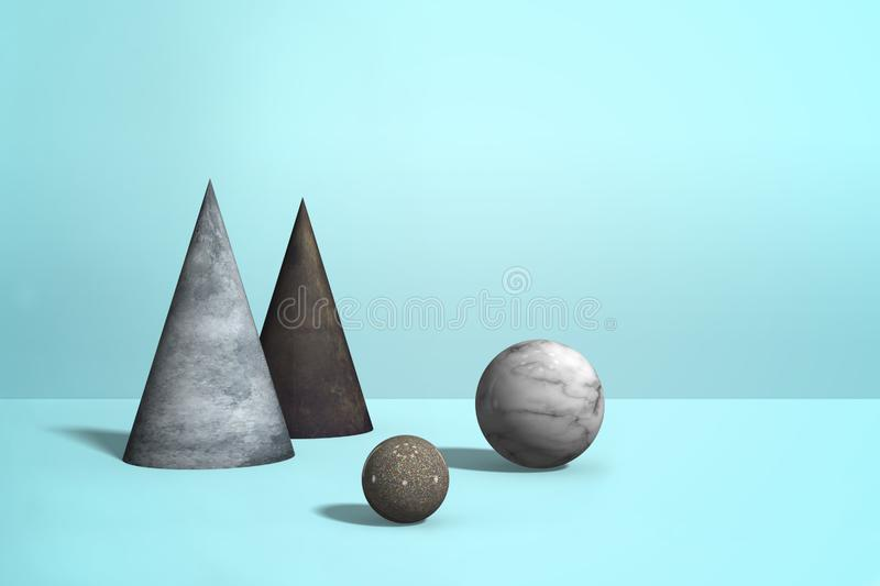 Geometric marble granite shapes - spheres, cones on pastel blue color background, abstract realistic composition in minimalism. Style, 3D renderin vector illustration