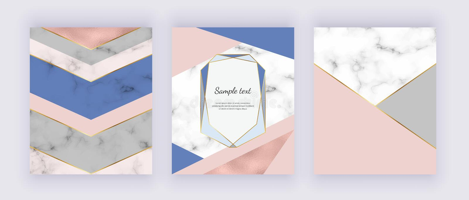 Geometric marble, rose gold foil texture with pink and blue triangular shapes. Modern covers design backgrounds. Templates for wed stock illustration