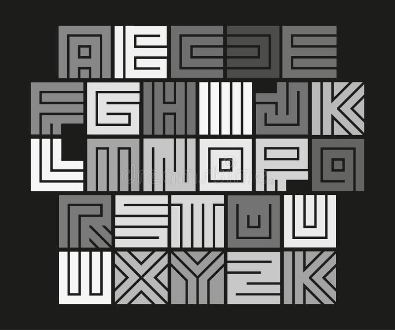 Geometric maze alphabet. Isolated unusual tile letters set, abstract vector white font on black background. royalty free illustration