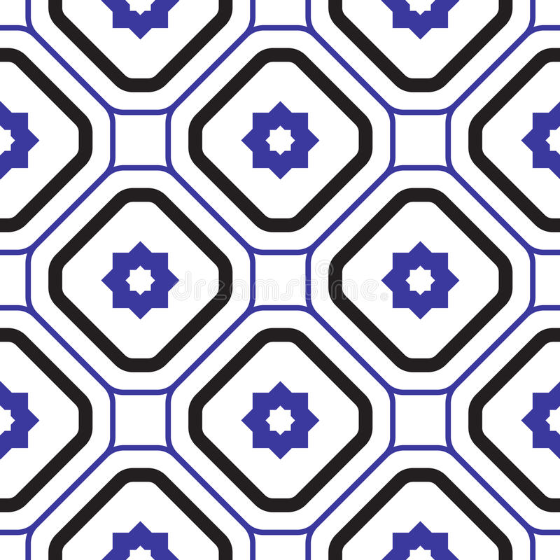 Geometric mediterranean blue and white rhombus seamless tile pattern. Abstract shapes vector texture for ceramic design, textile and wallpaper royalty free illustration