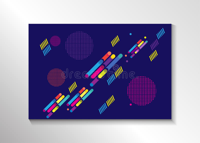 Geometric Memphis design poster vector illustration