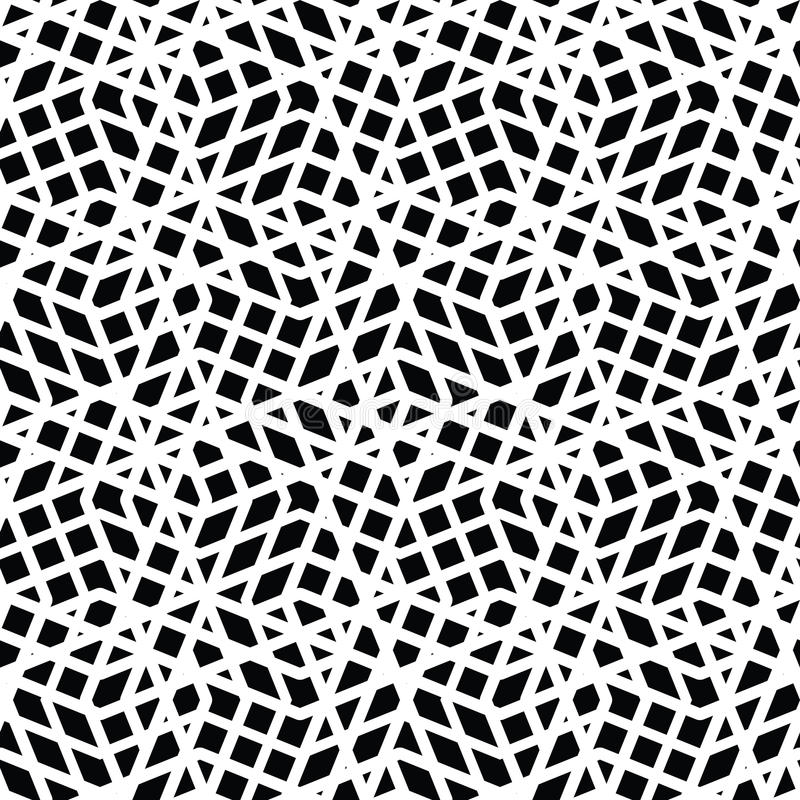 Geometric messy lined seamless pattern, monochrome vector endles stock illustration