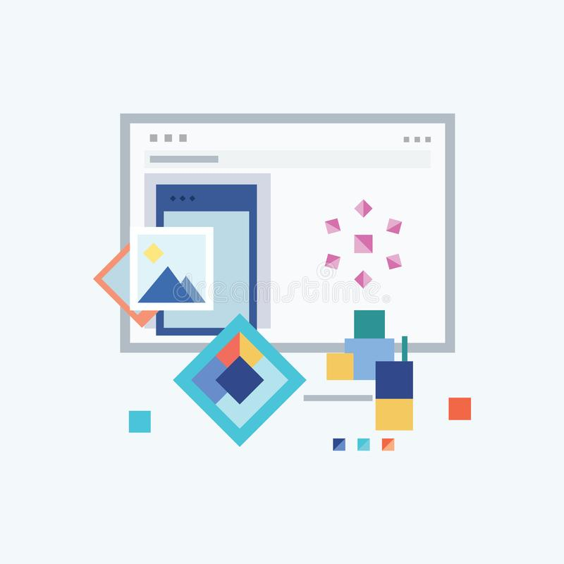 Geometric Minimalist eye-catching flat design, High-quality premium vector Illustration and Desktop Mobile Finance Concept, Image royalty free illustration