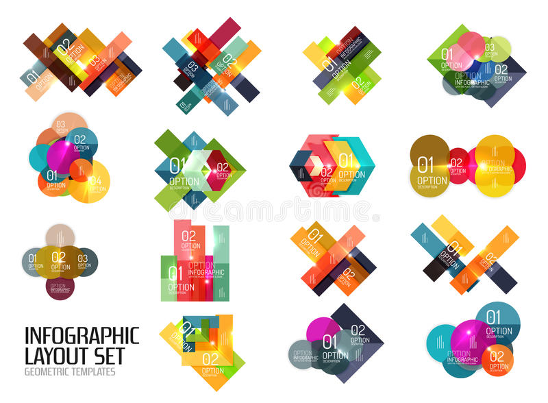 Geometric modern infographic options templates. Vector layouts for presentation, web site or modern print design vector illustration
