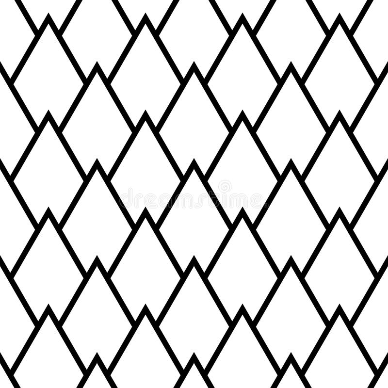 Geometric monochrome background. Black and white seamless pattern stock illustration