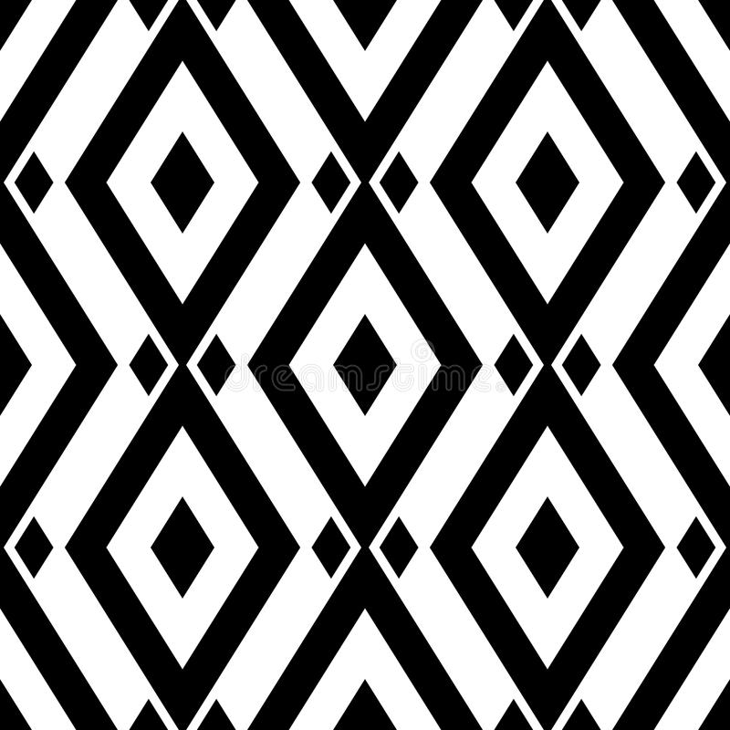 Geometric monochrome background. Black and white seamless pattern royalty free illustration