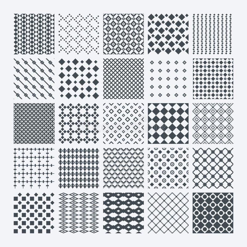 Geometric monochrome pattern set royalty free illustration