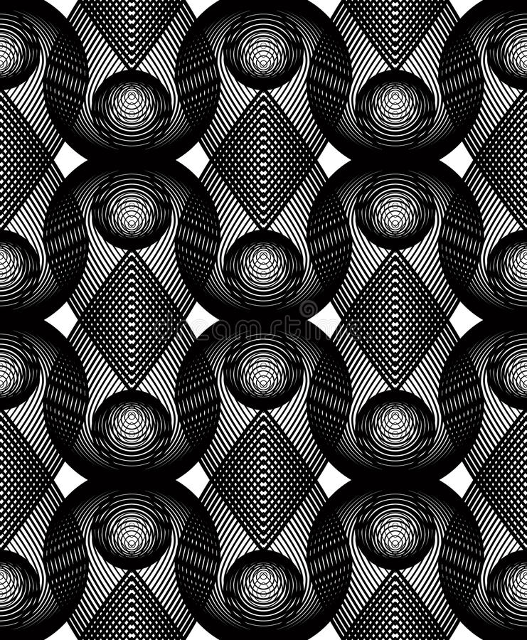 Geometric monochrome stripy overlay seamless pattern, black and. White abstract background. Graphic symmetric backdrop with overlapping geometric shapes royalty free illustration