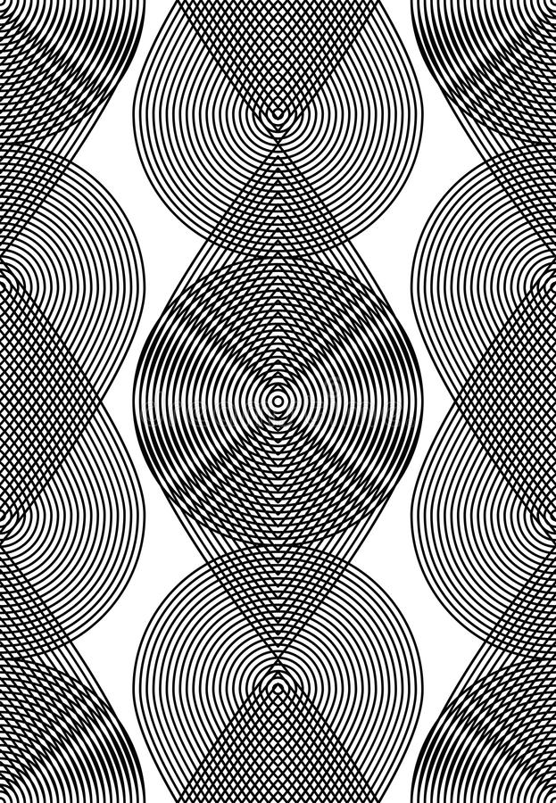 Geometric monochrome stripy overlay seamless pattern, black and. White vector abstract background. Graphic symmetric backdrop with overlapping geometric shapes royalty free illustration
