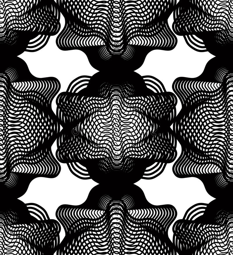 Geometric monochrome stripy overlay seamless pattern, black. And white vector abstract background. Graphic symmetric kaleidoscope backdrop royalty free illustration