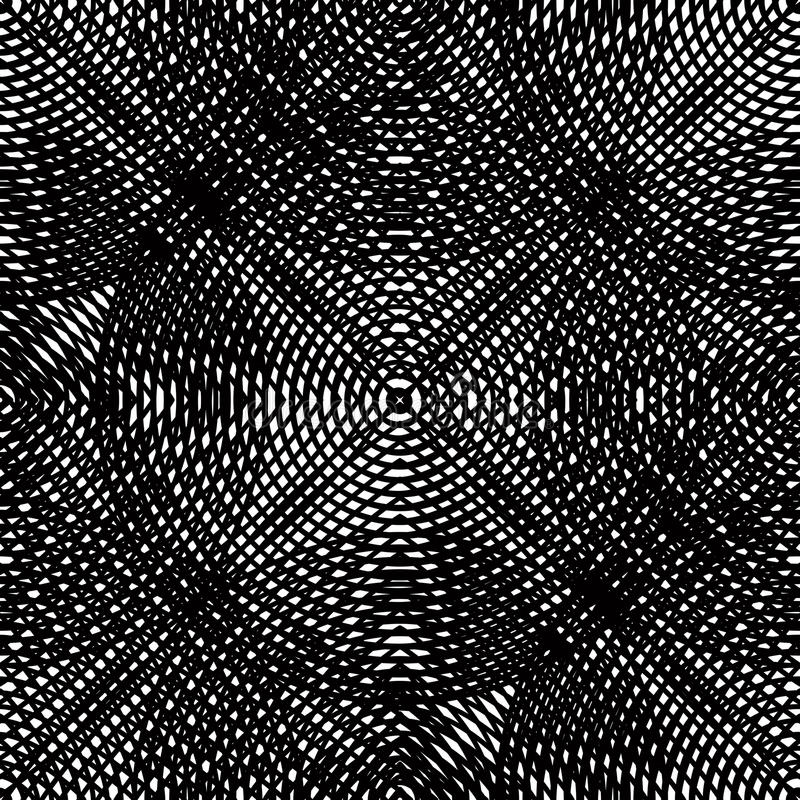 Geometric monochrome stripy overlay seamless pattern, black. And white vector abstract background. Graphic symmetric kaleidoscope backdrop stock illustration