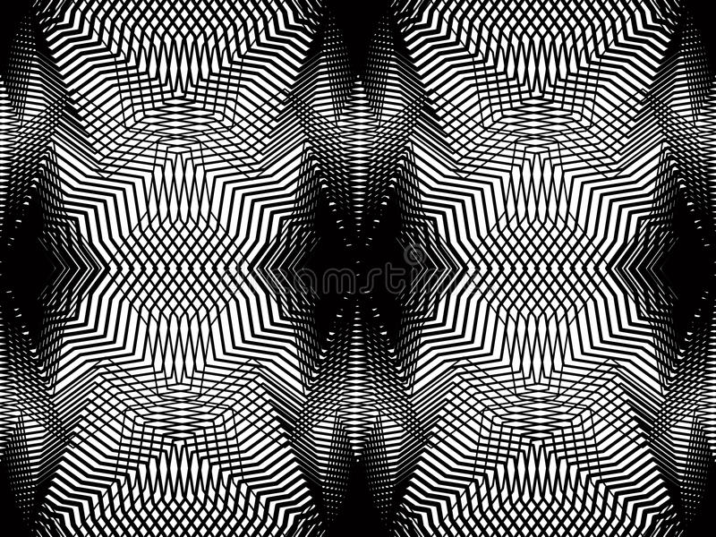 Geometric monochrome stripy overlay seamless pattern, black and. White vector abstract background. Graphic symmetric kaleidoscope backdrop vector illustration